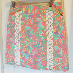 Lilly Pulitzer Paisley & Lace Skirt